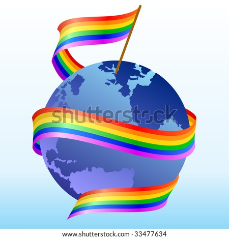 Flag of rainbow around the globe