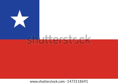 Flag of Republic of Chile is a South American country occupying a long, narrow strip of land between the Andes to the east and the Pacific Ocean to the west. Vector illustration