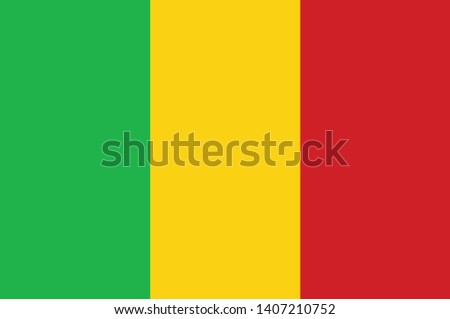 Flag of Republic of Mali is a landlocked country in West Africa, a region geologically identified with the West African Craton. Vector illustration