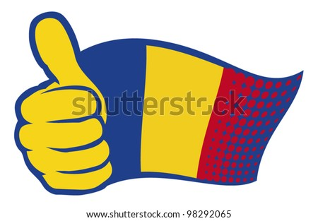 flag of romania. hand showing thumbs up.
