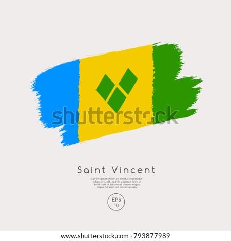 flag of saint vincent in grunge