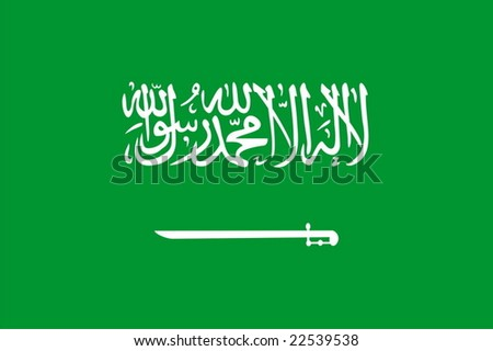Flag of Saudi Arabia. Illustration over white background