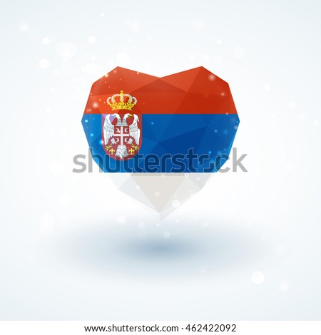 flag of serbia in shape of