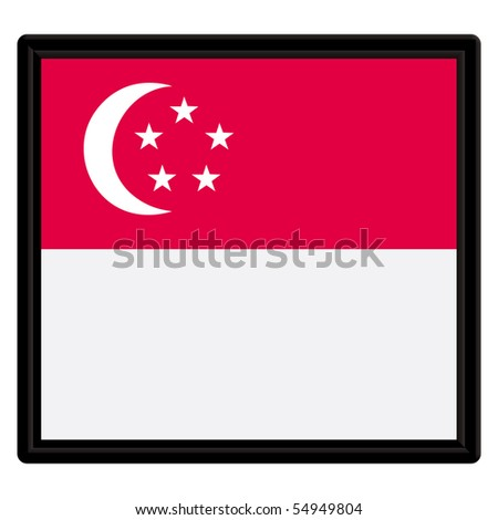 Flag of Singapore with black frame