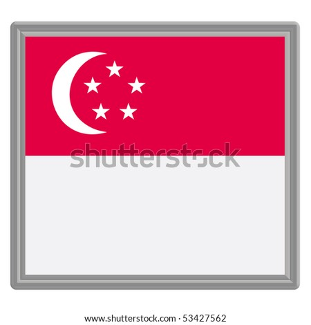 Flag of Singapore with silver frame