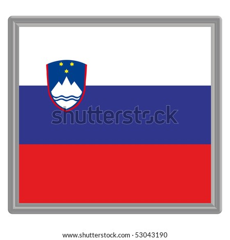 Flag of Slovenia with silver frame