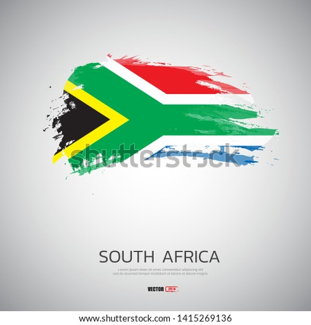 flag of South Africa with  brush stroke background