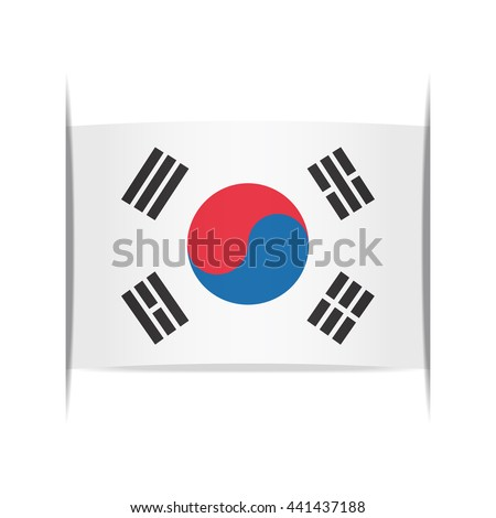Flag of South Korea, officially the Republic of Korea. Vector illustration of a stylized flag. The slit in the paper with shadows. Element for infographics.