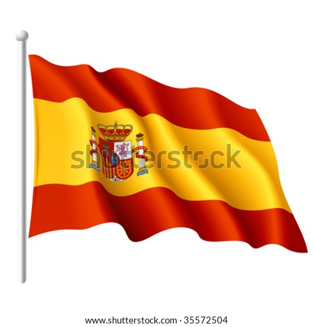 Flag of Spain. Detailed vector.