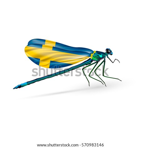 flag of sweden on dragonfly