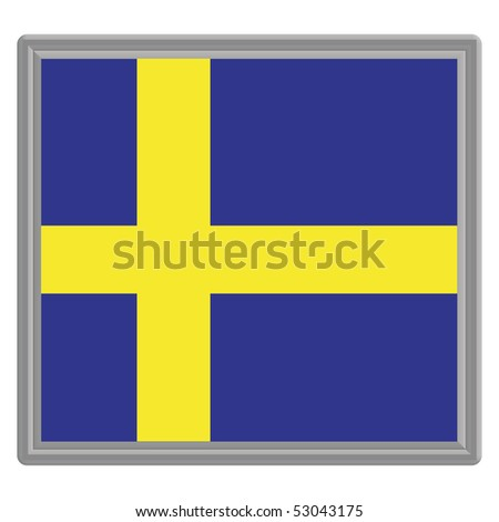 Flag of Sweden with a silver frame