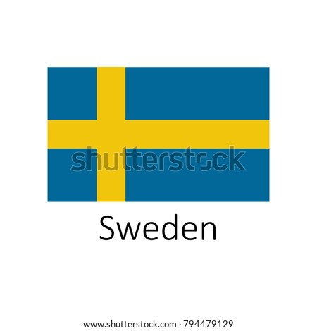 Flag of Sweden with name icon. Official colors and proportion correctly. National Sweden Flag vector. Sweden Flag vector illustration. National Sweden Flag vector on white background