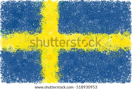 flag of sweden with snowflakes