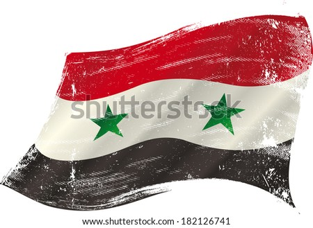 flag of  syria in the wind with