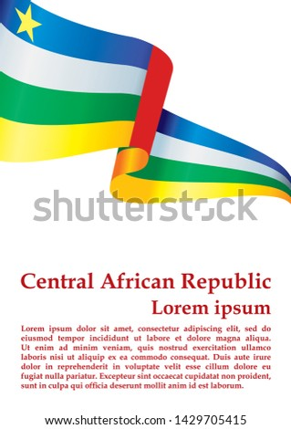 Flag of the Central African Republic, Central African Republic. Template for award design, an official document with the flag of the Central African Republic. Bright, colorful vector illustration.