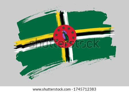 Flag of the  Commonwealth of Dominica. Dominica  banner brush concept. Horizontal vector Illustration isolated on gray background. Stockfoto ©