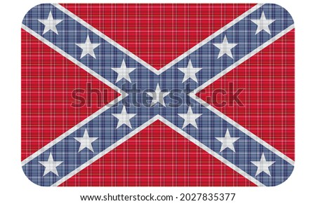 Flag Of The Confederate States of America Vector Illustration. Confederate Rebel Flag With Textile Texture. Southern Flag With Plaid Pattern  Foto stock ©