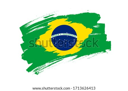 Flag of the Federative Republic of Brazil. Brazil green banner brush concept. Horizontal vector Illustration isolated on white background.