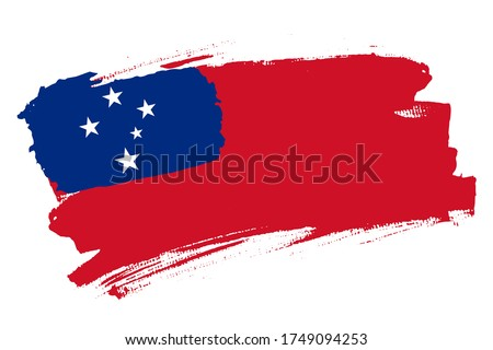 Flag of the Independent State of Samoa. Samoa banner brush concept. Horizontal vector Illustration isolated on white background.