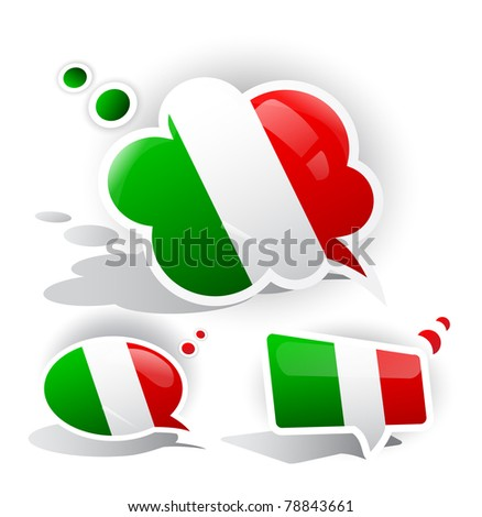 Flag of the Italy. Speech bubble