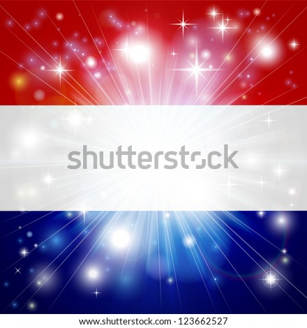 Flag of the Netherlands background with pyrotechnic or light burst and copy space in the centre