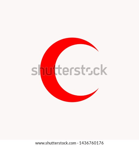 Flag of The Red Crescent icon - International Movement of medical - vector.  #1436760176