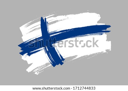 Flag of the Republic of Finland. Finland bicolor brush concept. Horizontal vector Illustration isolated on gray background.   Foto stock ©