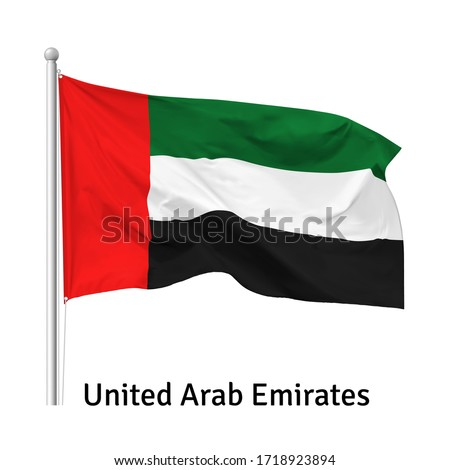 Flag of the United Arab Emirates in the wind on flagpole, vector