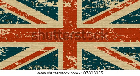 Flag of the United Kingdom. UK grunge flag on old carboard texture. Vector eps10 - stock vector