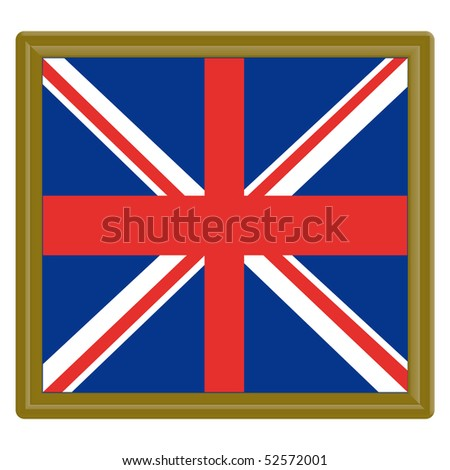 Flag of the United Kingdom with gold frame