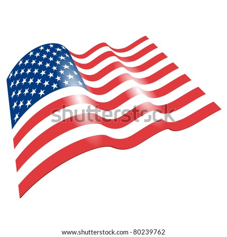 Flag of the United States, fluttered in the wind. (Vector image)