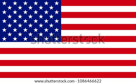 Flag of the United States of America.  Modern Banner of USA. Design element for print, wallpaper, wrapping paper, websites. Vector illustration #1086466622
