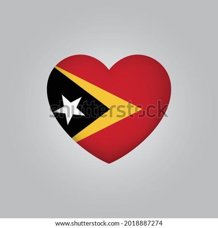Flag of Timor Leste in heart. Timor Leste flag vector. Love Timor Leste symbol Stock fotó ©