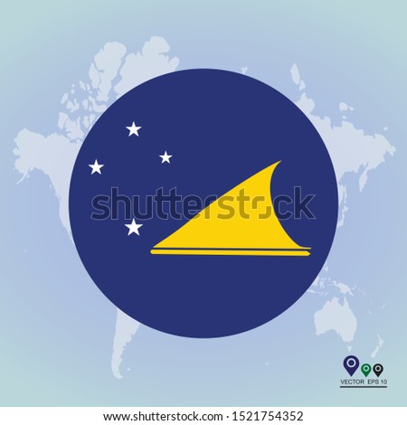 Flag of Tokelau glossy Round Glossy Icon. Vector illustration eps 10.