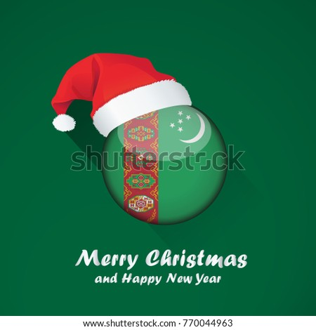 Flag of turkey. Merry Christmas and happy new year background design with glossy round Flag of turkey. vector illustration.