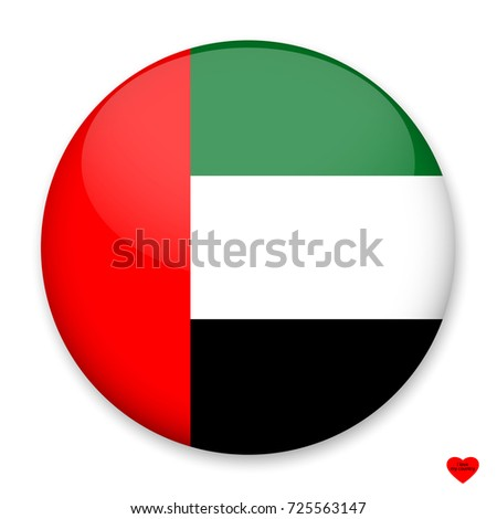 Flag of UAE in the form of a round button with a light glare and a shadow. The symbol of Independence Day, a souvenir, a button for switching the language on the site, an icon.