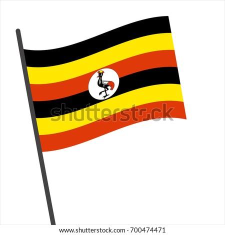 Flag of Uganda , Uganda flag waving isolated vector illustration