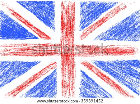 flag of uk  pencil drawing
