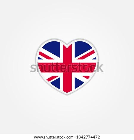 flag of united kingdom heart 3d
