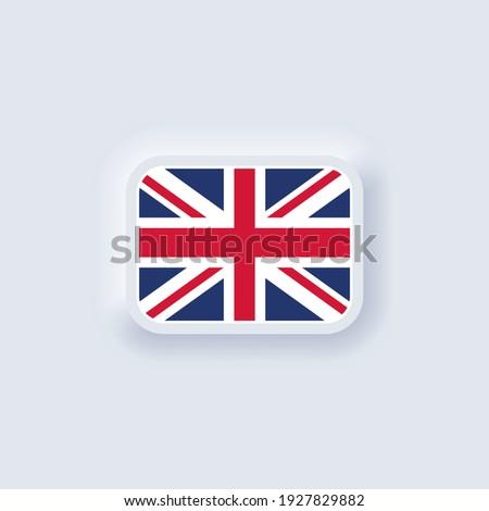 Flag of United Kingdom. National United Kingdom flag. United Kingdom symbol. Vector illustration. EPS10. Simple icons with flags. Neumorphic UI UX white user interface. Neumorphism