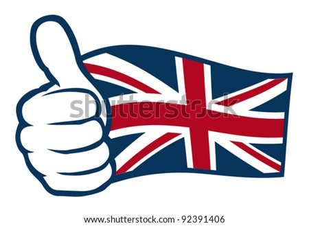 Flag of United Kingdom of Great Britain and Northern Ireland. Hand showing thumbs up.