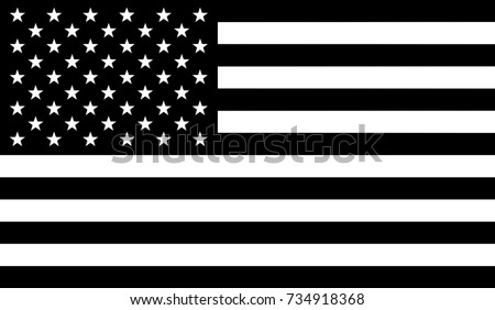 Flag of United States of America (USA) with black and white colors - vector graphic