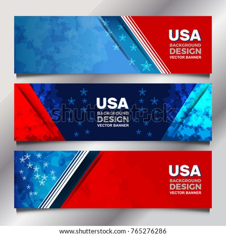 Flag of USA background for independence, veterans, memorial day and other events, Vector illustration Banner Design
