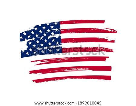 Flag of USA in brush stroke background.