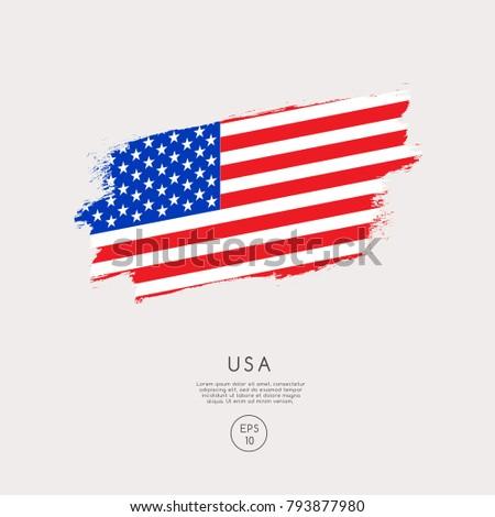 Flag of USA in Grunge Brush Stroke : Vector Illustration