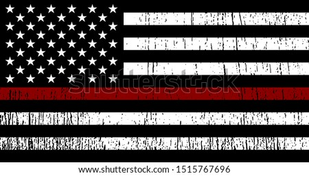 flag of usa with red line