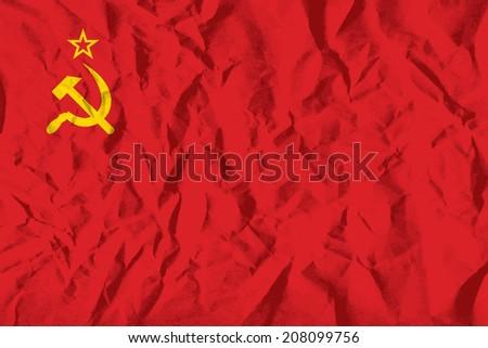 flag of ussr on wrinkled paper