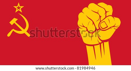 flag of ussr with fist