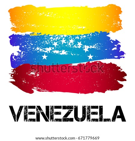 Flag of Venezuela from brush strokes in grunge style isolated on white background. Country in South America. Latin America. Vector illustration