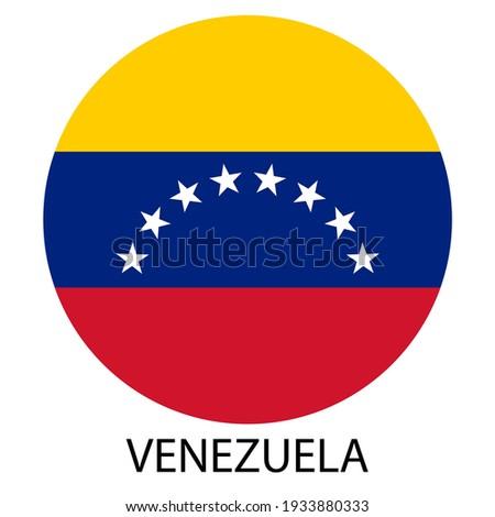 Flag of Venezuela in a circle, national colors, vector illustration. Inscription: Venezuela Stockfoto ©